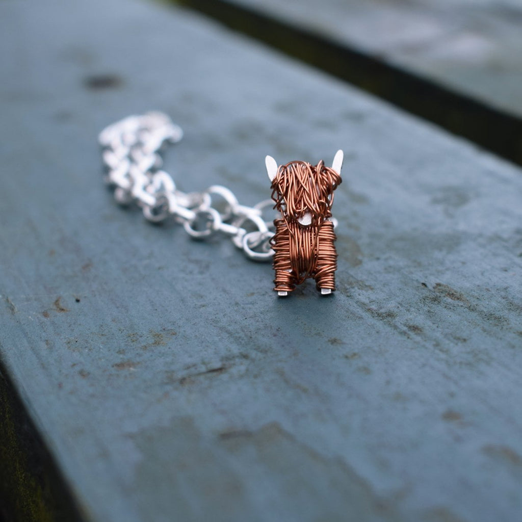 Silver and copper Highland Cow charm - FreshFleeces, highland cow charm, highland cow bracelet, highland cow gift, highland cow jewellery, highland cow jewelry, scottish jewellery, scottish jewelry, scottish gift for her, highland cow silver bracelet, highland cow silver charm