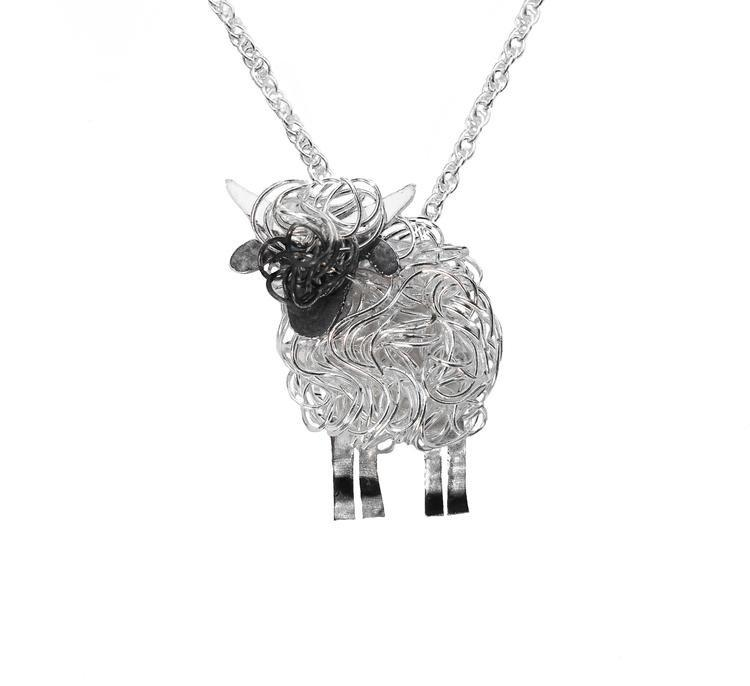 Silver Valais Blacknose sheep necklace - Fresh Fleeces, valais blacknose jewellery, valais blacknose sheep gift, silver valais blacknose sheep, valais blacknose sheep jewelry, valais blacknose gift, swiss sheep necklace, switzerland sheep necklace
