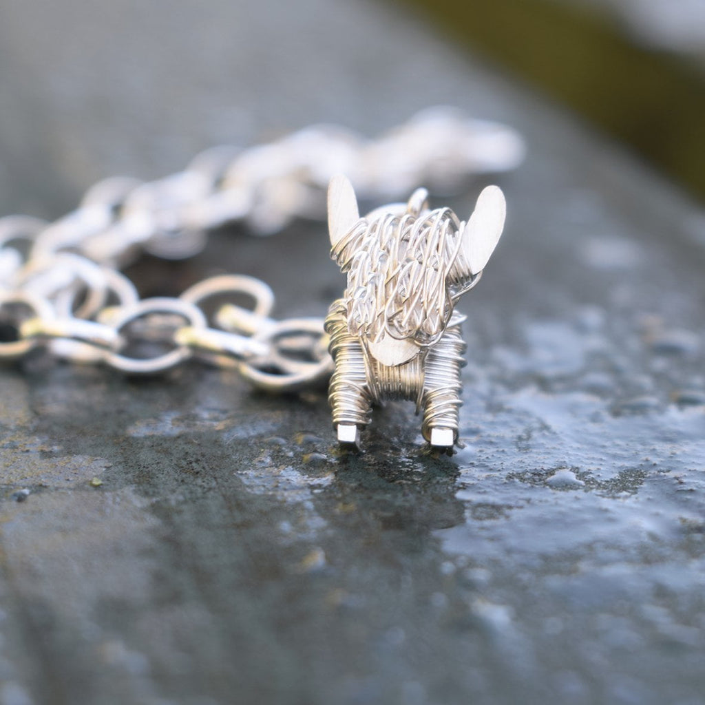 Silver highland cow charm bracelet, highland cow present for woman