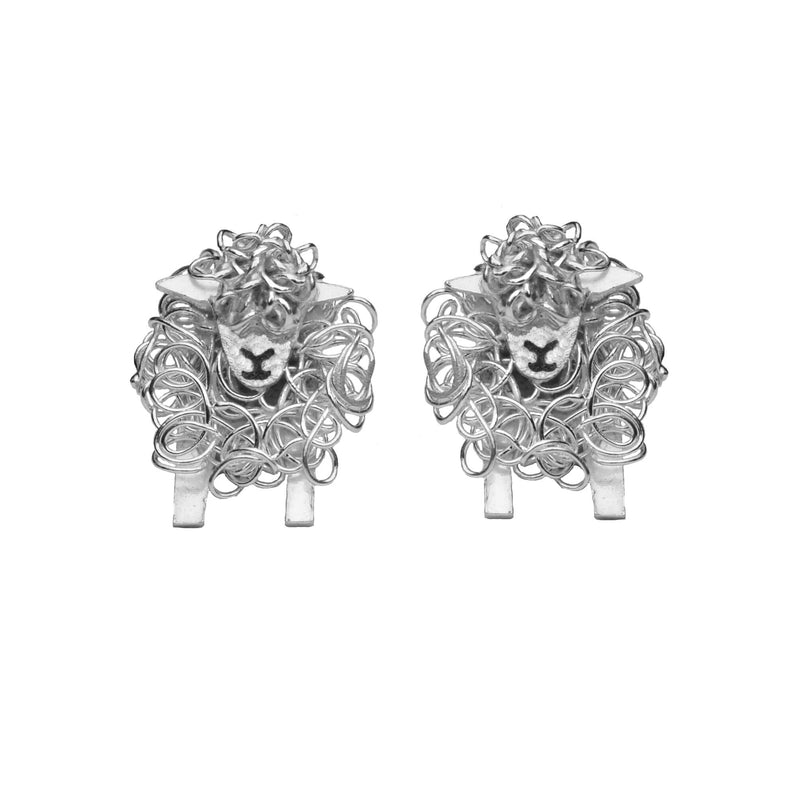Silver Southdown sheep earrings
