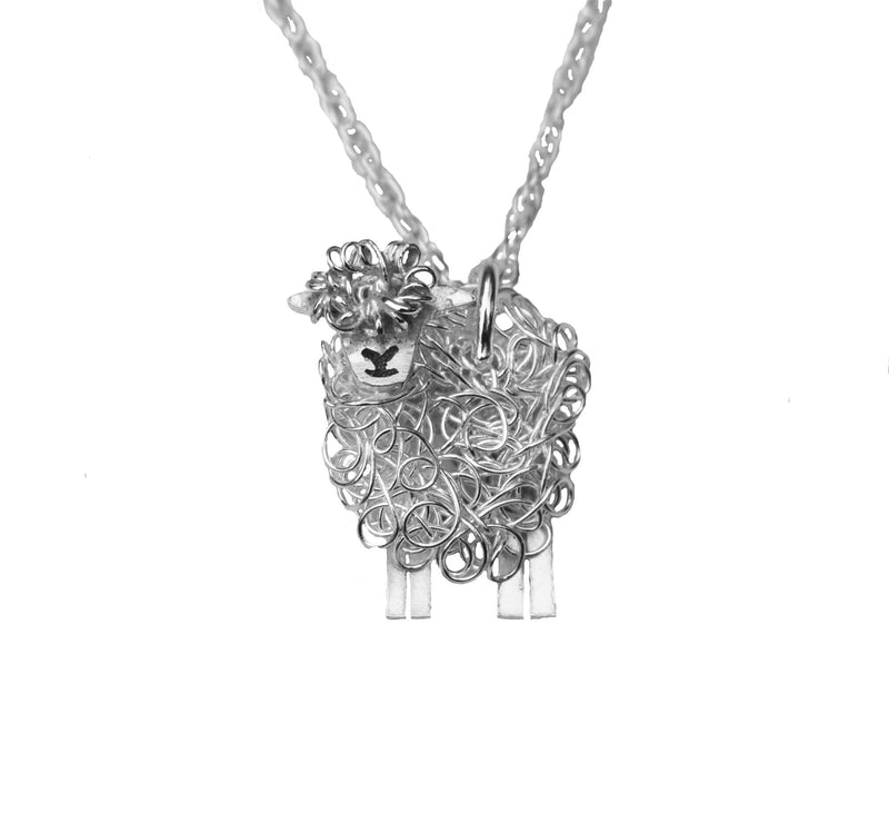 Silver Southdown sheep pendant necklace - FreshFleeces, southdown sheep jewellery, southdown sheep gift, southdown sheep jewelry, southdown sheep present for woman, southdown sheep birthday present, silver southdown sheep