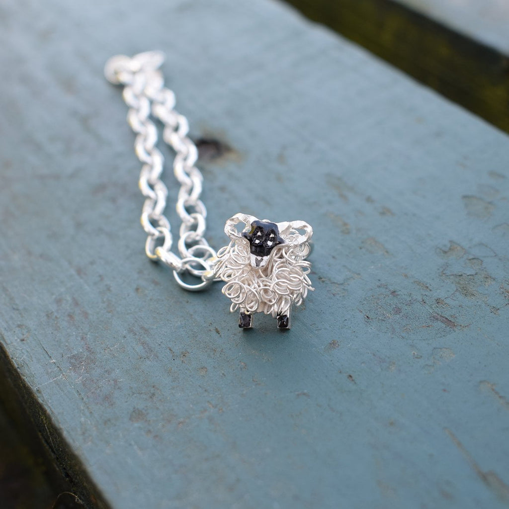 Silver Swaledale sheep charm - FreshFleeces, swaledale sheep bracelet, swaledale jewellery, swaledale sheep jewelry, yorkshire jewellery gift, yorkshire sheep gift, swaledale present, the yorkshire shepherdess, swaledale silver sheep