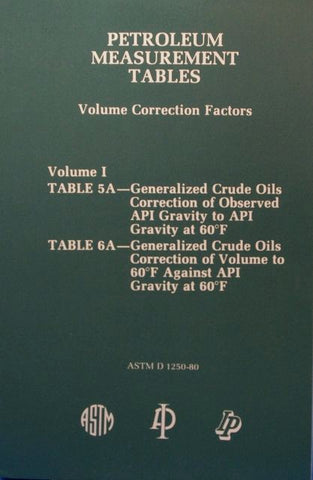 Petroleum Measurement Tables - Volume Correction Factors: Volume I - Table 5A and Table 6A