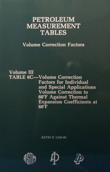 Petroleum Measurement Tables - Volume Correction Factors: Volume III - Table 6C
