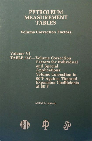Petroleum Measurement Tables - Volume Correction Factors: Volume VI - Table 24C