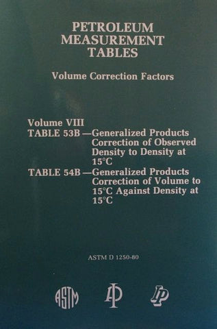 Petroleum Measurement Tables - Volume Correction Factors: Volume VIII - Table 53 B and Table 54B