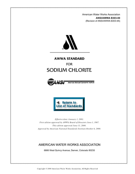 AWWA Standard B303-00 (Revision of B303-95): Standard for Sodium Chlorite