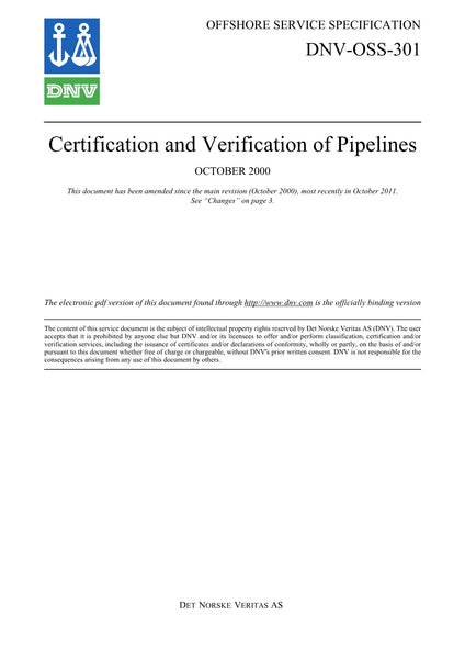DNV-OSS-301 Certification and Verification of Pipelines