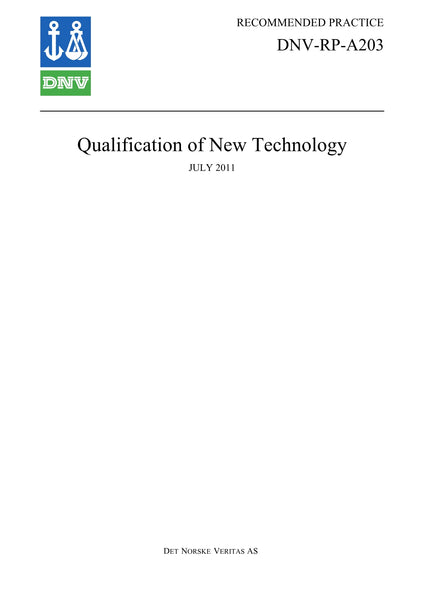 DNV-RP-A203 Qualification Procedures for New Technology