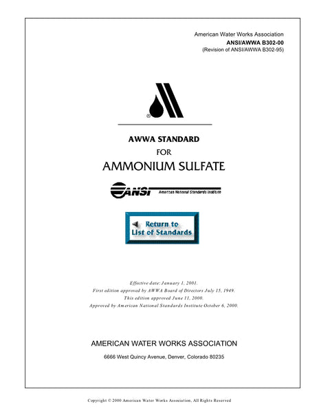 AWWA Standard B302-00 (Revision of B302-95): Standard for Ammonium Sulfate