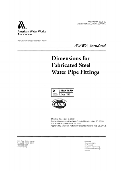 AWWA Standard C208-01 (Revision of C208-96): Standard for Dimensions for Fabricated Steel Water Pipe Fittings