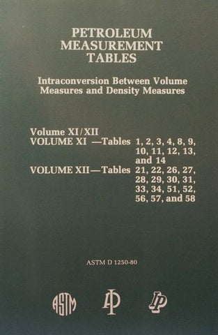 Petroleum Measurement Tables - Intraconversion Between Volume Measures and Density Measures: Volume XI - Tables 1, 2, 3, 4, 8, 9, 10, 11, 12, 13, and 14;  Volume XII - Tables 21, 22, 26, 27, 28, 29, 30, 32, 33, 34, 51, 56, 57, and 58