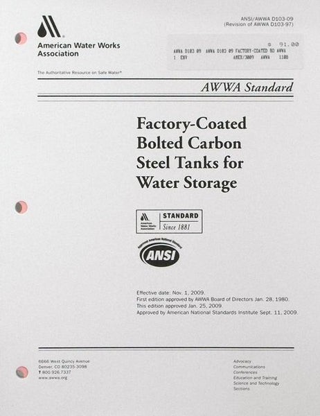 AWWA D103: Factory-Coated Bolted Carbon Steel Tanks for Water Storage