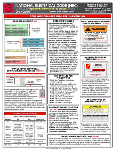2017 National Electrical Code (NEC) Significant Changes Quick-Card
