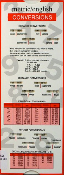 Metric/English Conversions Slide Rule