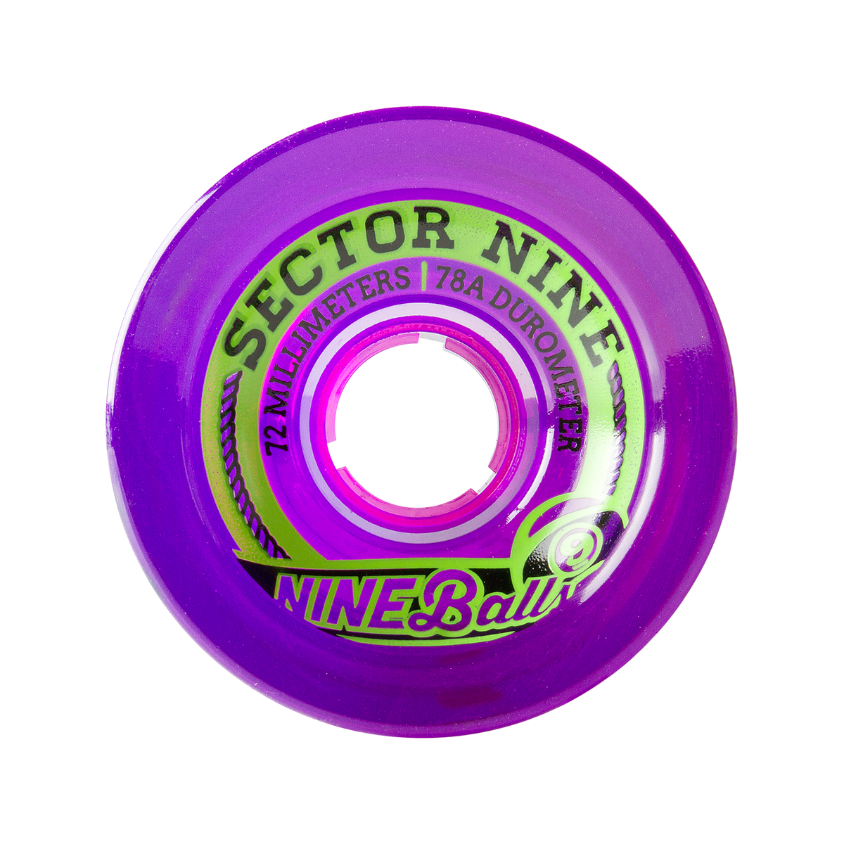 72MM 78A NINEBALLS PURPLE LONGBOARD WHEELS
