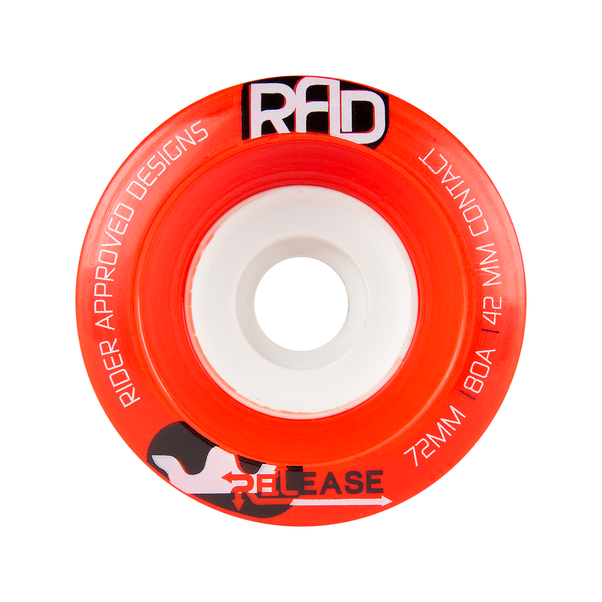 RAD 72MM 80A RELEASE BEST RED LONGBOARD WHEELS