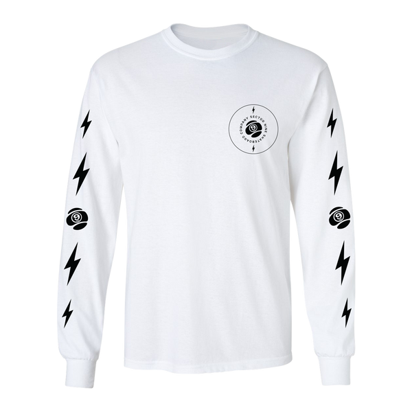 9 Volt Long Sleeve Tee White