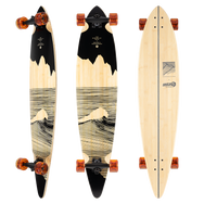 Sector 9 Maverick Crag: The simple black, minimalist illustrations provide a beautiful contrast to the natural Bamboo plies, creating decks worthy of hanging in a gallery just as much as they are riding to the beach.