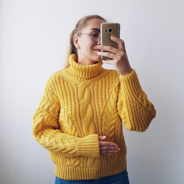 Fall 2018: Thick Knitted turtleneck casual loose sweater pullover
