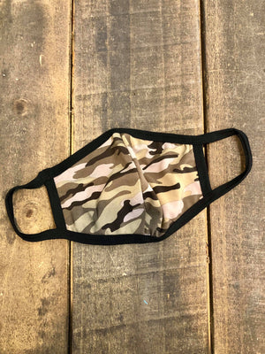 Green Camo Middle Stitch Soft Face Mask Elle and Co Boutique