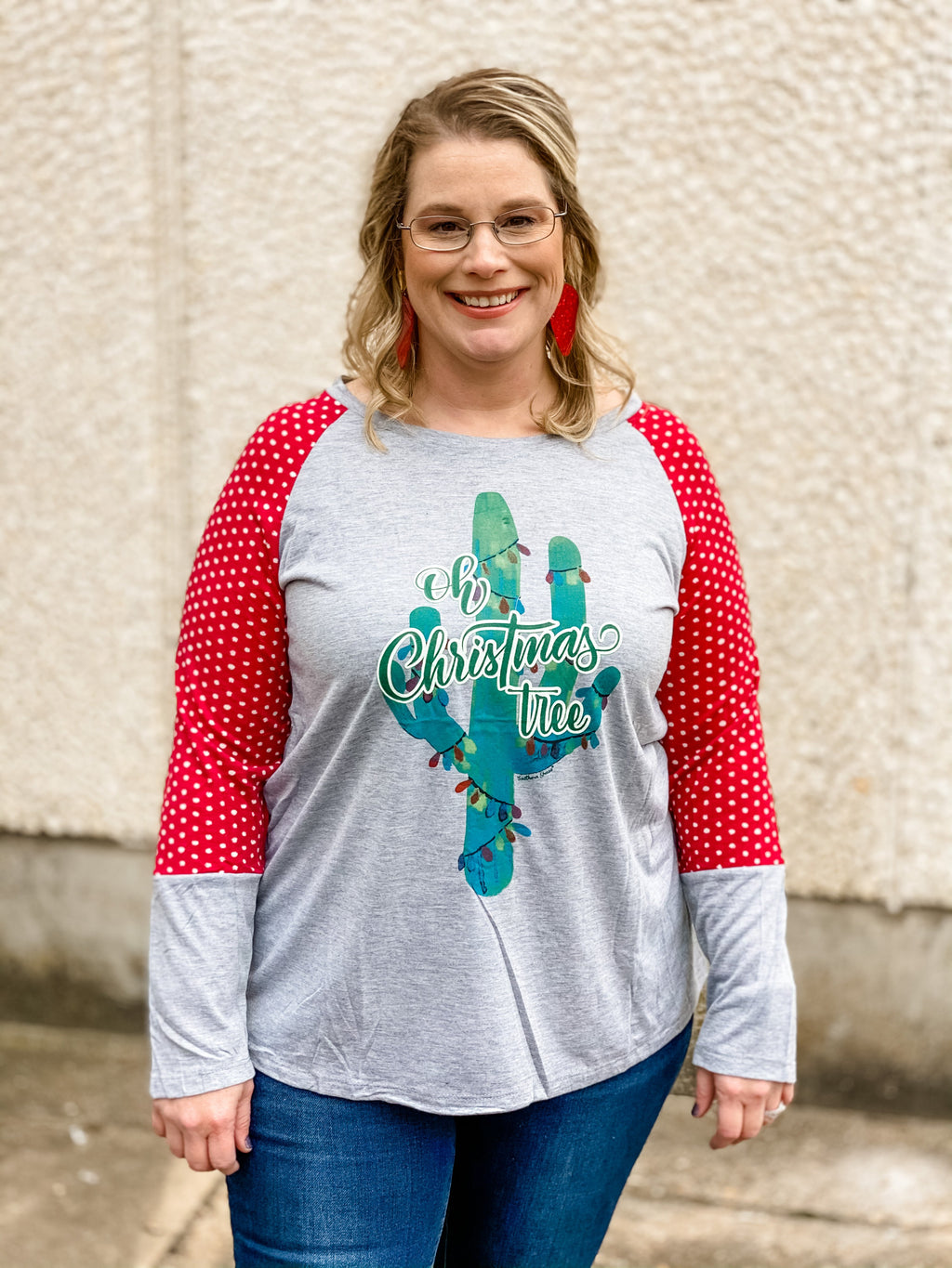 Oh Christmas Tree Cactus Polka Dot Accent Tee Elle and Co Boutique