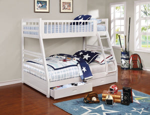 Lyme Twin/Full Bunk Bed with Storage - White