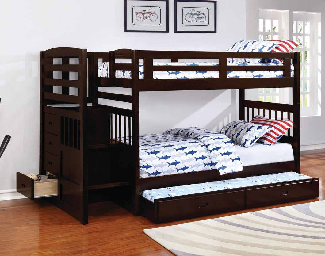 Kent Twin/Twin Bunk Bed with Trundle and Storage