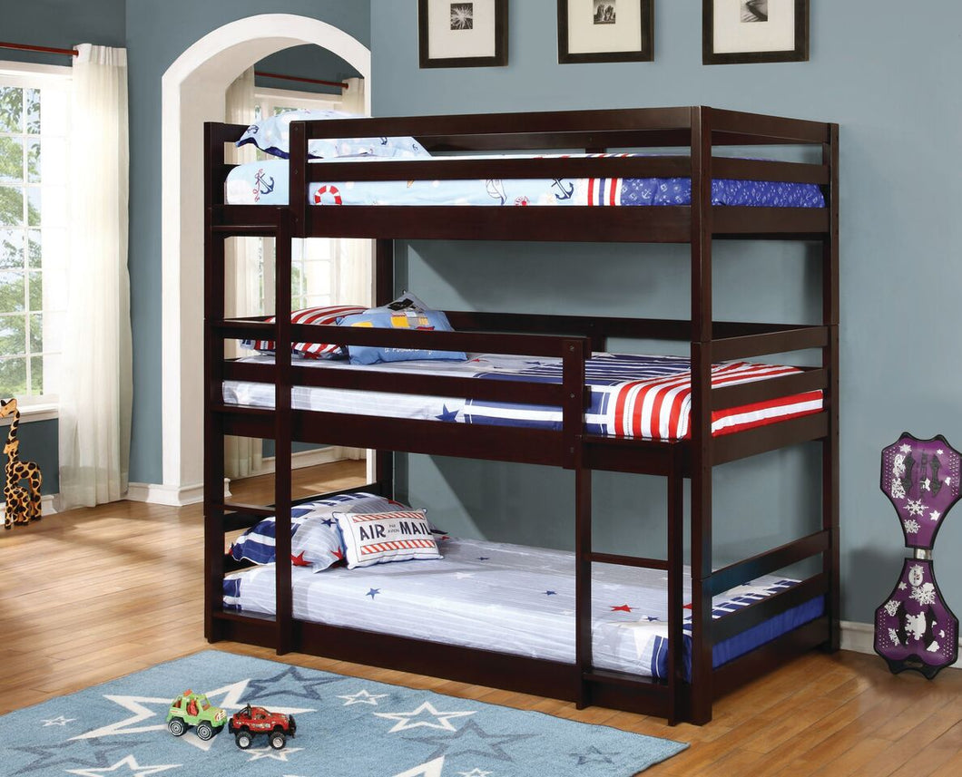 Triple Twin Bunk Bed - Cappuccino