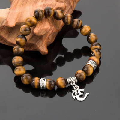 Om Mantra Tiger Eye Bracelet