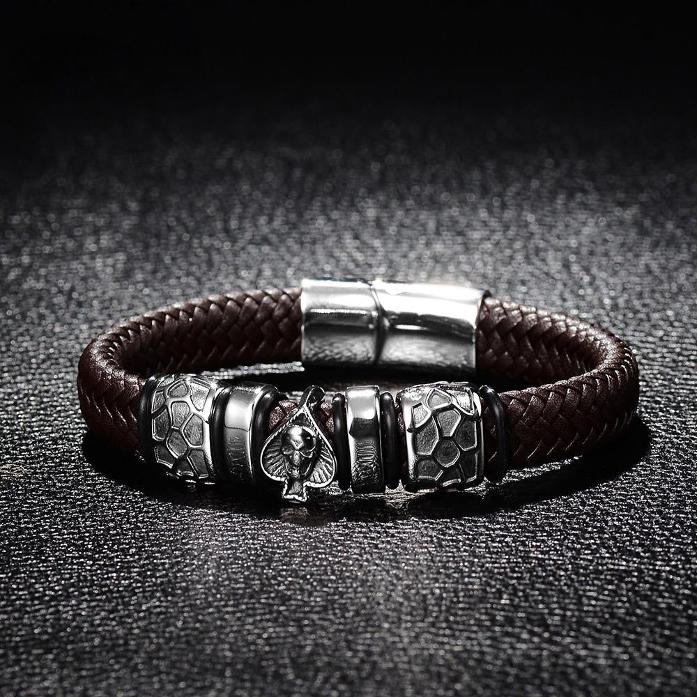 Fearless Spade Leather Bracelet
