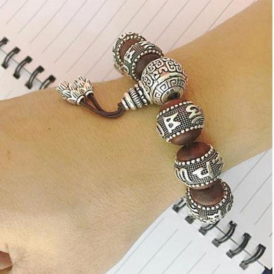 Six True Words Pure Silver Sandalwood Bracelet