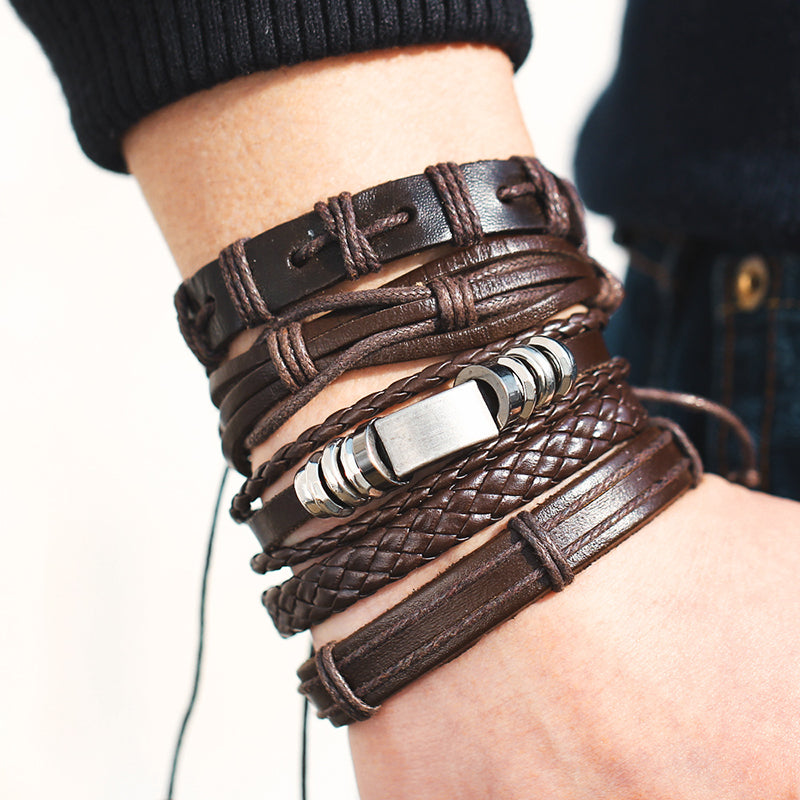 Multilayer Rock 'n' Roll Leather Bracelet 5pcs/set
