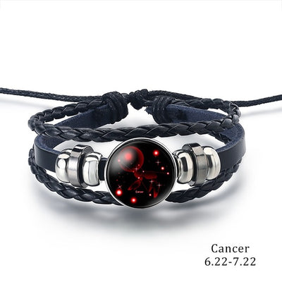 12 Zodiac Signs Charm Leather Bracelet