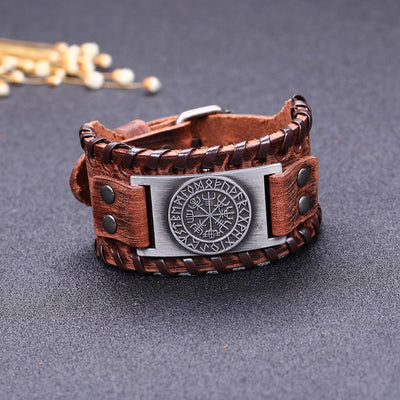 Vegvisir Compass Leather Bracelet