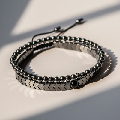 Chevere Hematite Bracelet Set 2pcs