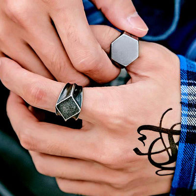Man of Steel Geometric Ring
