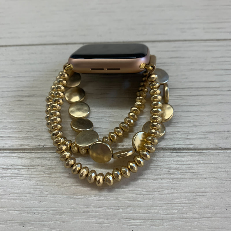 Gold Beaded Apple Watchband