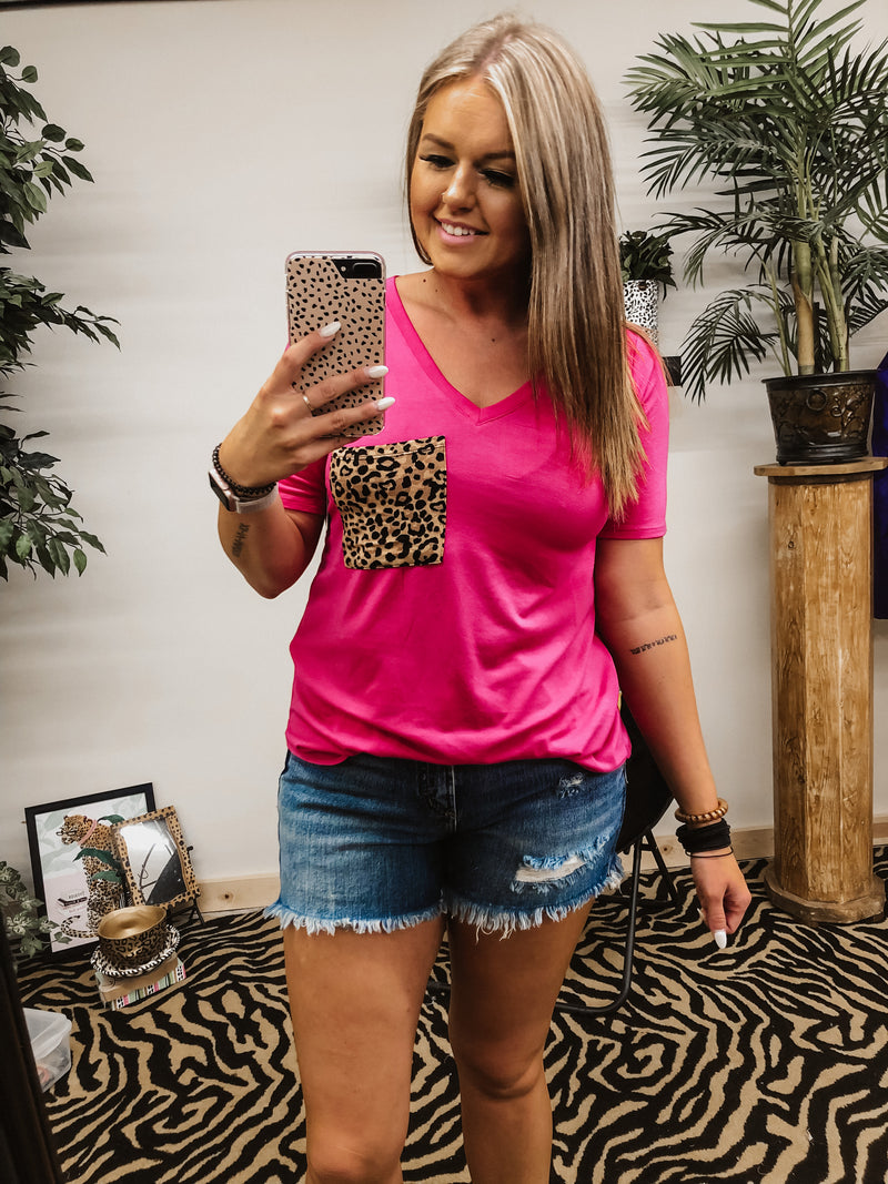 Time Of Your Life Leopard Pocket Top HOT PINK