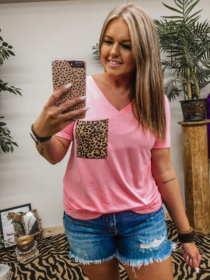 Time Of Your Life Leopard Pocket Top BRIGHT PINK