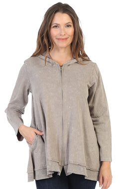 Jess & Jane Mineral Washed French Terry Hoodie Jacket TAUPE