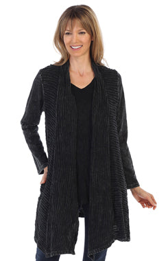 Jess & Jane Mineral Washed Jacket Wavy Contrast BLACK