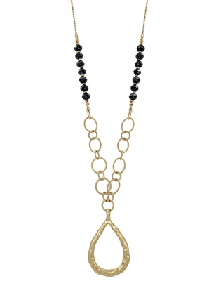 Give them Glam Gold Teardrop Necklace BLACK