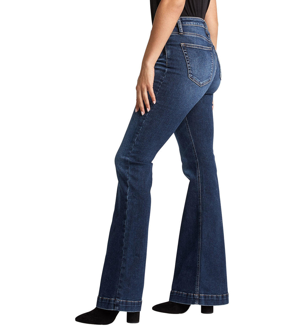 Silver High Note High Rise Flare Jeans 35""