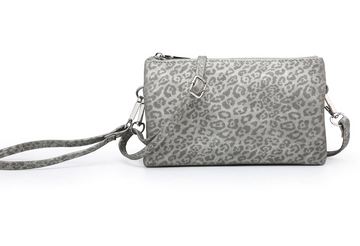 The Riley Wristlet/Crossbody Silver Leopard