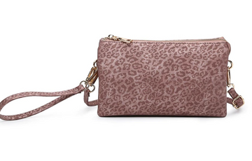 The Riley Wristlet/Crossbody Mauve Leopard