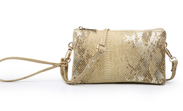 The Riley Wristlet/Crossbody Metallic Snake