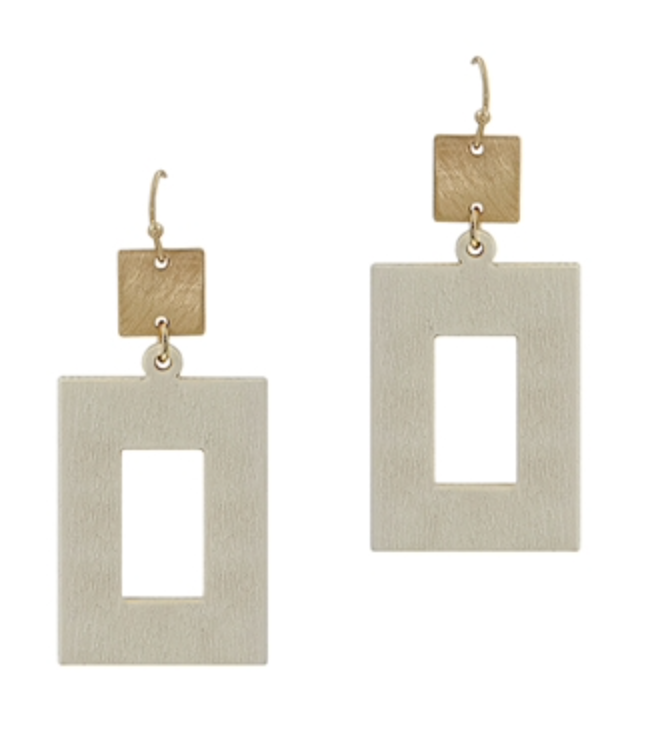"White Wood Open Rectangle with Gold 2"" Earring"
