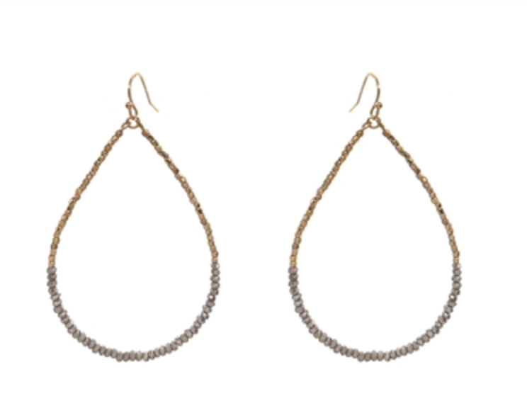 "Gold Nugget and Grey Crystal 2"" Teardrop Earring"