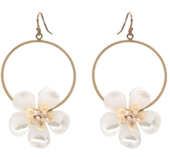 "Gold Hoop with White Acrylic Flower 1.5"" Earring"